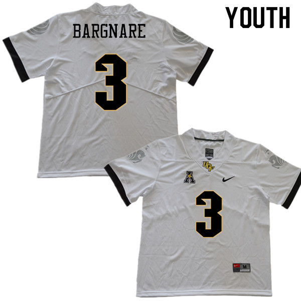 Youth #3 Jaquarius Bargnare UCF Knights College Football Jerseys Sale-White