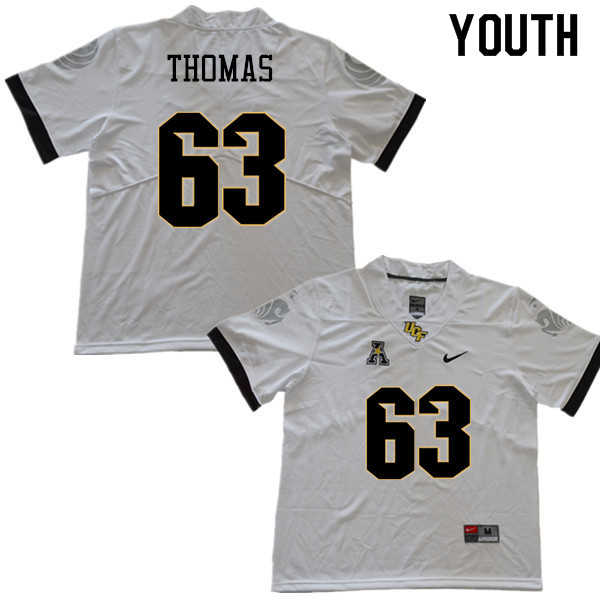 Youth #63 Jared Thomas UCF Knights College Football Jerseys Sale-White