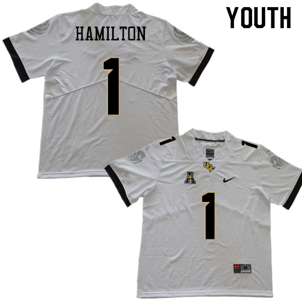 Youth #1 Jawon Hamilton UCF Knights College Football Jerseys Sale-White