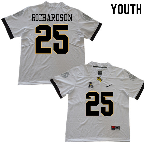 Youth #25 Johnny Richardson UCF Knights College Football Jerseys Sale-White