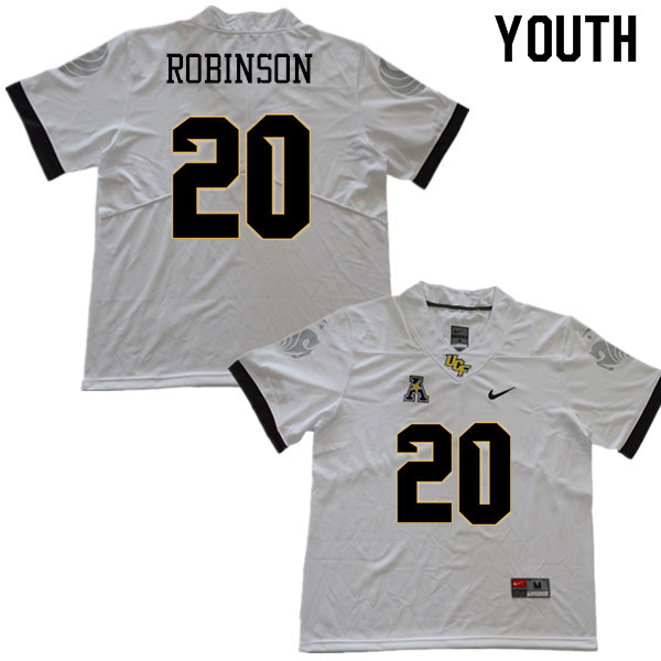 Youth #20 Josh Robinson UCF Knights College Football Jerseys Sale-White