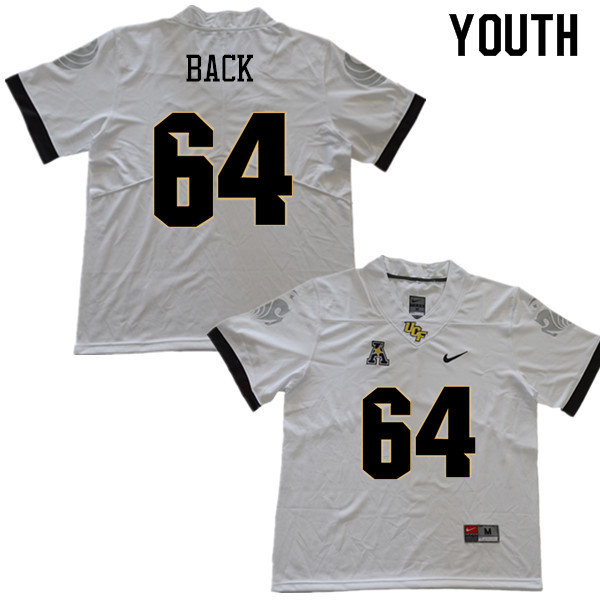 Youth #64 Kyle Back UCF Knights College Football Jerseys Sale-White