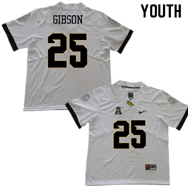 Youth #25 Kyle Gibson UCF Knights College Football Jerseys Sale-White