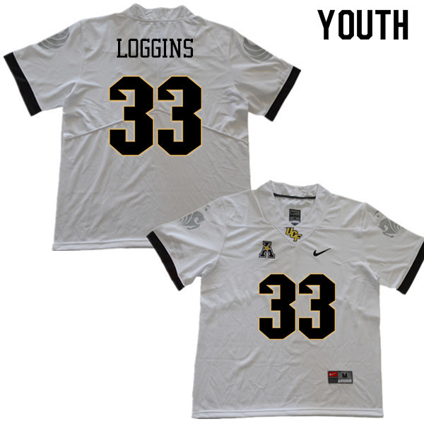 Youth #33 Monterious Loggins UCF Knights College Football Jerseys Sale-White