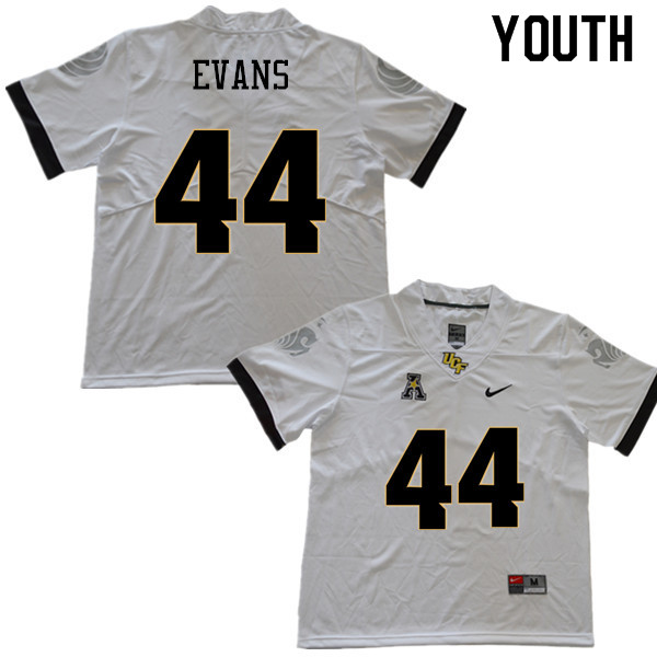 Youth #44 Nate Evans UCF Knights College Football Jerseys Sale-White