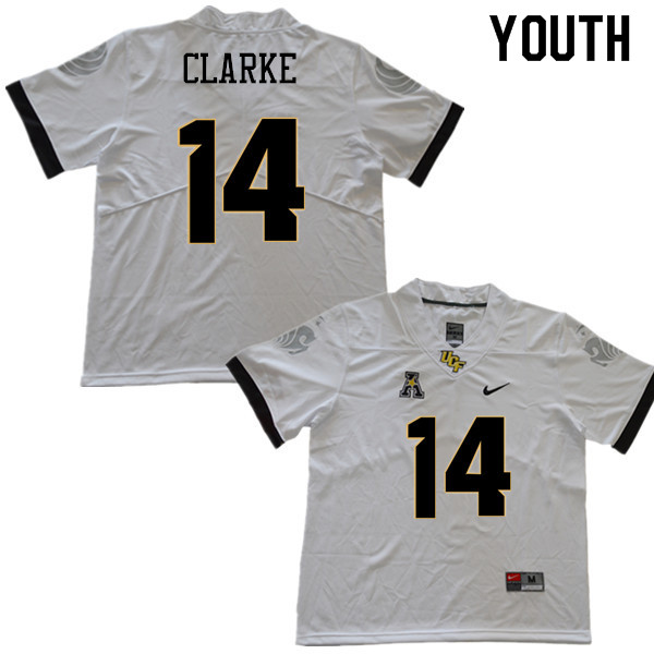 Youth #14 Nevelle Clarke UCF Knights College Football Jerseys Sale-White