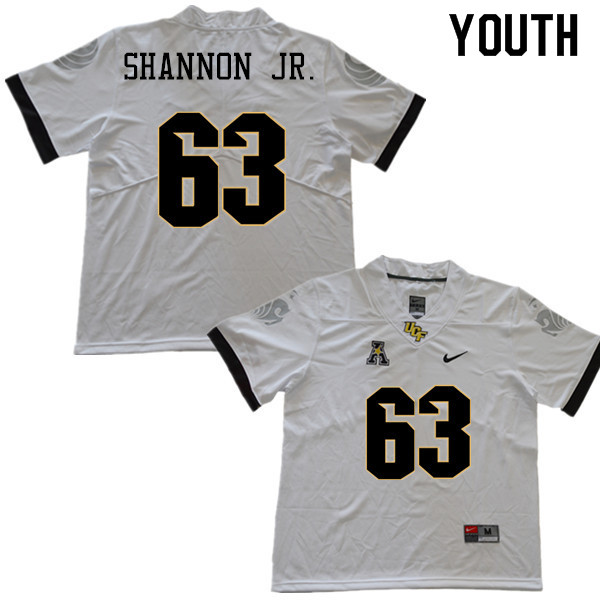 Youth #63 Randy Shannon Jr. UCF Knights College Football Jerseys Sale-White