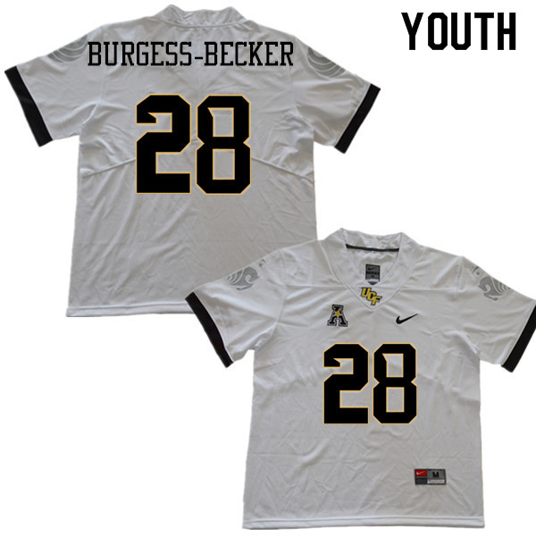 Youth #28 Shawn Burgess-Becker UCF Knights College Football Jerseys Sale-White