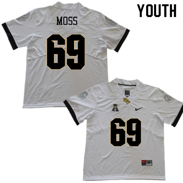 Youth #69 Steven Moss UCF Knights College Football Jerseys Sale-White