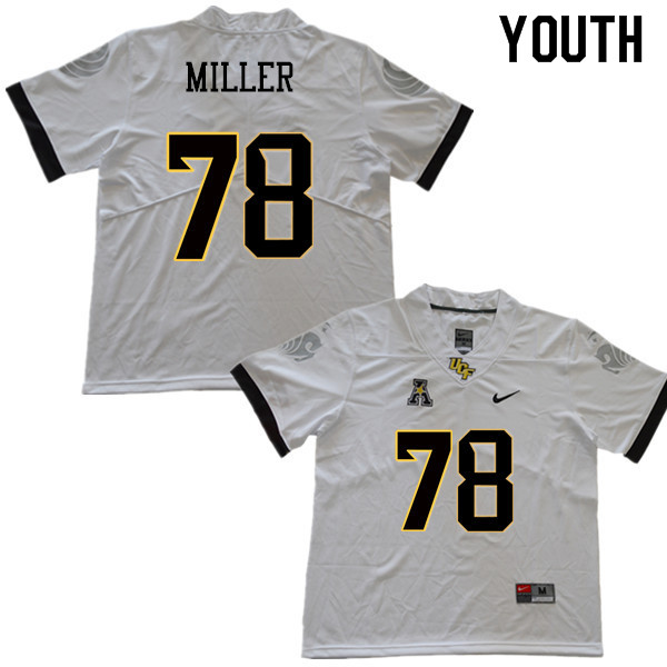 Youth #78 Wyatt Miller UCF Knights College Football Jerseys Sale-White